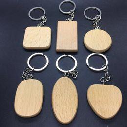 Freunde logos online-DIY Blank Holz Schlüsselanhänger personalisierte Holz Anhänger Schlüsselanhänger beste Geschenk für Freunde Graduierung 6 Stile Custom Logo