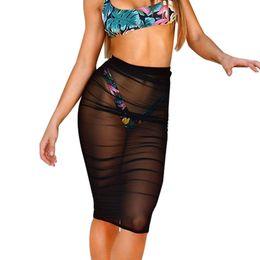 Sleeper 501 2019 Nueva Moda Moda Mujer Protector Solar Tight Mesh Skirt Perspectiva Sexy Beachwear Vestido Corto Caliente Envío Gratis