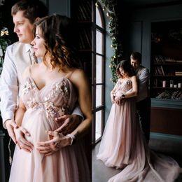 Vestidos formales embarazadas baratas online-2020 3D florece una línea boda embarazada Tamaño largo vestido de tul barato espaguetis Backlss nupcial de los vestidos del vestido formal del partido Plus