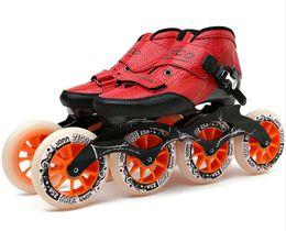 Venta al por mayor velocidad patines en línea de fibra de carbono 4 * 90/100 / 110mm Competencia patines de 4 ruedas de la calle Carreras Patinaje Patines Powerslide similares desde fabricantes