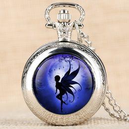 Cartoon Character Women's Pocket Watch Fairy Angels On Moon Pocket Watches Charm Jewelry Necklace Chain Pendant Clock for Girls cheap angels cartoon characters от Поставщики ангелы персонажи мультфильма
