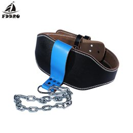 tirare in su la pelle Sconti FDBRO pelle bovina Cinturone per pesistica con catena Ring Power Training Gym immersione Bilanciere Pull Up ponderata pesi Belt