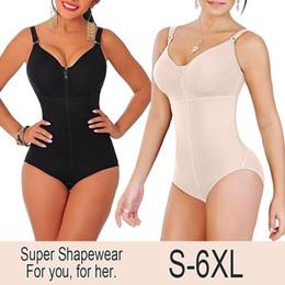 2019 cintura de corpo inteiro mais tamanho Novas Mulheres Plus Size Bodysuit Shapewear Emagrecimento Tummy Controle de Corpo Inteiro Shaper Calcinha Estilo Clipe Zip Com Sutiã Cinto Fajas T190627 cintura de corpo inteiro mais tamanho barato