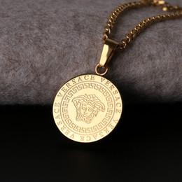 Argentina Collar de acero de titanio y oro de Hip Hop Diosa Diseñar a los hombres Collar con el logotipo de la gente Colgante de cabeza pequeña Boutique Collar de titanio Suministro