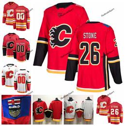 nomi pietre Sconti 2019 Michael Stone Calgary Flames maglie da hockey Personalizza Nome Alternativo Rosso # 26 Michael Stone Stitched Hockey Shirts S-XXXL