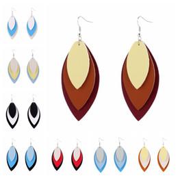Stein perlen ohrring online-mehrschichtige Leder Ohrringe weibliche Boho handgemachten Schmuck aus echtem Leder leave Tropfenohrringe mit Stein Perlen Schmuck Großhandel