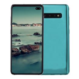 """2019 mtk telefono cellulare sim Face ID Goophone S10 + V4 6.4 """"Full screen Android 9.0 3G WCDMA Quad Core MTK6580 1GB 8GB Smartphone con impronta digitale con display da 8 GB"""