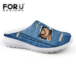 Zapatos de mezclilla de playa Sandalias de malla transpirable Lindo Animal Gato Perro Impresión Slip-on Sandalias Zuecos hombres Pisos Zapatilla Zapatos # 161712 desde fabricantes
