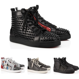 2019 christian louboutin Migliori scarpe firmate Studded Spikes Red Bottom Sneakers High Top Pik Pik uomo a spillo scarpe nere in pelle bianca Flat