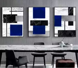 Pinturas geométricas online-Modern Simple Abstract Geometric Color Block Canvas Print Modular Wall Paintings For Living Room Wall Art Home Decor No Framed