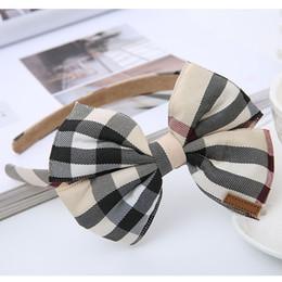 Deutschland 3 STÜCKE Neue Reizende Gitter Big Bowknot Kinder Haarband Baby Haarbänder Prinzessin Headwear Kinder Stirnbänder Mädchen Haarschmuck Versorgung