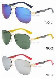 óculos de sol azul redondo para homens Desconto Óculos de Sol de verão Dos Homens Sem Moldura azul Siliver Green lente Óculos de Condução armação de Metal Óculos de Sol Em Tons Redondos UV400 3 Cores 10 PCS