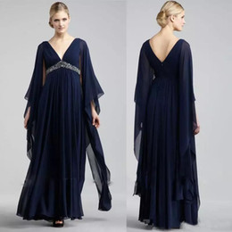 17a39912eb7b Navy Blue Chiffon Formal Mother of the Bride Boho Evening Dresses V Neck  Empire Waist Beaded Plus Size Prom Party Gowns Floor Length discount plus  size ...