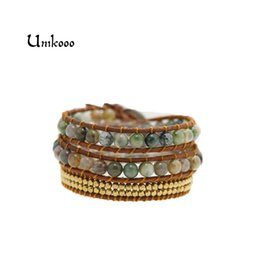 Ткать обертывание кожаный браслет онлайн-Women Bohemian Bracelets Vintage Leather Wrap Bracelet 3 Multi-layer Strands Woven Copper  Handmade Wrap Bracelets