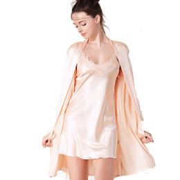 Langärmelige nachthemden online-großhandel frühjahr und sommer neue seide sexy v-krawatte nachthemd langärmelige nachthemd anzug bequeme hause kleidung
