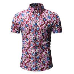 das blumendruckhemd der männer Rabatt Mens Casual Flower Print Hawaiian Shirt 2019 Marke Neue Kurzarm Floral Shirt Männer Sommer Strand Shirts für Männer Chemise Homme