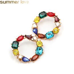 Wholesale Bohemio colorido círculo de cristal pendientes de aro de oro impresionante círculo grande pendiente del arco iris para las mujeres de alta calidad de corea del sur joyería de diseño
