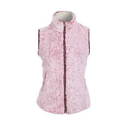frauen rosa weste Rabatt Womens ärmellose rosa Weste Winter warme Outwear Casual Kunstpelz Zip Up Sherpa Jacke Damen Westen M-2XL