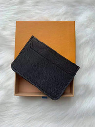 Monedero tarjetas de visita online-Venta caliente Classic Women Credit Card Package Monedero Monedero Hombres Business Card Holder Leathewith Box