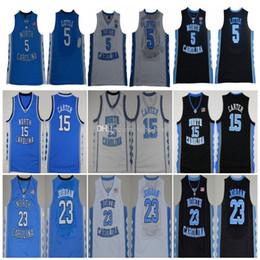 2020 michael jackson azul Salto NCAA North Carolina Tar 5 Nassir Pouco 32 Luke Maye 15 Carter 23 Michael Jackson 44 Faculdade azul Basketball Jerseys costurado Logos michael jackson azul barato