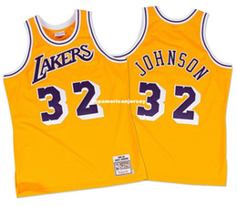 Canada Johnson # 32 cousu Mitchell Ness Top 1984 or haute qualité Jersey taille XS-6XL maillots de basket-ball cousu maillots Ncaa supplier basketball size 4xl Offre