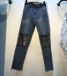 Jeans 2019 Spring Autumn Fashion New Heavy Vertical Hot Drill High Waist Micro-horn Denim Pants Women Jeans Pants Long Trousers