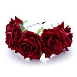 Canada Femmes Rose Hairband Guirlande Fille Rose Bandeau Fleur Hairband Couronne Partie De Mariage Coiffure Accessoires De Cheveux LJJR424 Offre
