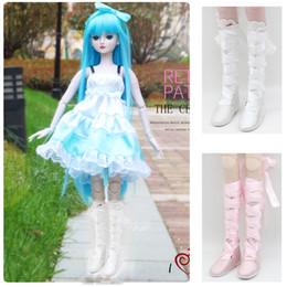Zapatos de vestir princesa online-1/3 BJD Dolls Shoes - Suede Jackboot Lace up Botas planas Princess Boots - para la noche Lolita Dolls Accesorio de vestir de invierno