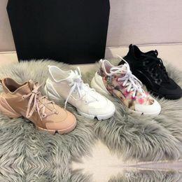 Cordones de zapatos gruesos online-Diseñador de primavera verano, zapatos casuales, moda, flores, deportes, mujer, zapatos, impresión, encaje, fondo grueso, lujo, zapatos para caminar, de gran tamaño, 35-42