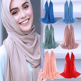 chiffon hijab schals Rabatt Winter-Frauen-Schal Plain Blase Chiffon-Schal Hijab Wrap Tücher Stirnband Solide muslimische Hijabs weiche lange