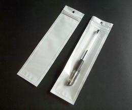 100 шт. 5.5x20.5 см белый прозрачный молния пластиковая жемчужина Розничная упаковка сумка, поли мешок ПП для стилуса с повесить отверстие пакет сумки от