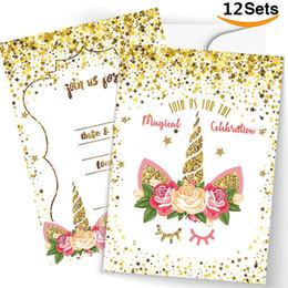 Celebración de oro online-Unicornio Suministros para fiestas Tarjetas de felicitación navideñas Únase a nosotros para la celebración mágica Tarjetas de invitación de cumpleaños con polvo de oro blanco 0 8rcD1