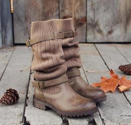 Botas de coxa vintage on-line-Sobre o joelho botas longas mulheres de couro pu saltos baixos coxa alta botas de fivela plataforma cinta senhoras do vintage sapatos plus size botas