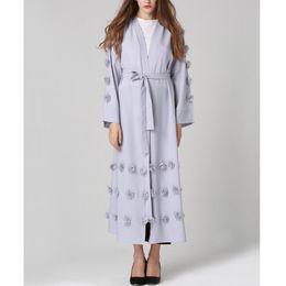 2019 abrigo largo de pavo YSMARKET Turquía Mujeres Musulmanas Tops Largos Prendas de Vestir Ropa Étnica Islámica Para Mujer Túnica Flores Cardigan Maxi Coat E7009 abrigo largo de pavo baratos