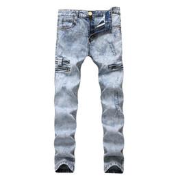 Jeans homme en denim stretch déchiré et déchiré Hip Hop Slim Fit Trous Pantalons en coton délavé à la neige Décoration multi-zip ? partir de fabricateur
