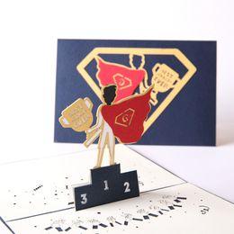 Papeles de acción de gracias online-Tarjeta de felicitación del día del padre Talla de papel estereoscópico 3D Ahuecando Creative Super Father Gift Acción de gracias Tarjetas pequeñas 8 13ld C1