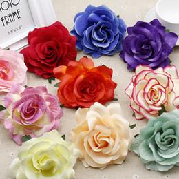 2019 décoration de mariage pour voitures Blooming de 10pcs soie artificielle Roses des capitules pour le mariage décoration de voiture bricolage couronne de mariée jardin Décor décoration de mariage pour voitures pas cher