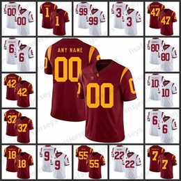 2508f810c12 Custom USC Trojans Jerseys 14 Sam Darnold 9 JuJu Smith-Schuster 55 Junior  Seau White Red Custom All Stitched College Football Jersey
