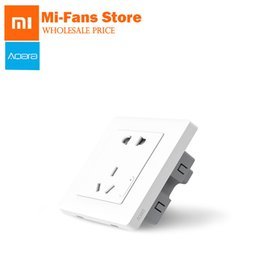 2019 apliques de parede originais Original Xiaomi Aqara Controle de Luz Inteligente Tomada Interruptor de Parede Zigbee Smartphone Xiaomi App Dispositivo Remoto Sem Fio Inteligente para Casa T190621 apliques de parede originais barato