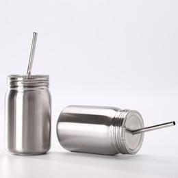 Puede beber tapa online-Tarro de masón de acero inoxidable solo 700 ml Taza de masón con tapa paja Café taza de jugo de cerveza mermelada Latas taza de beber KKA6943