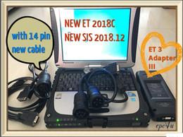 2019 universeller schlüsseltransponder CF19-Laptop Installieren Sie SIS 2018.12 + ET 2018C + Werkskennwort keyGEN mit et 3 Adapter III Comm 3 p / n 317-7485 für rote Katze + neues 14-poliges Kabel