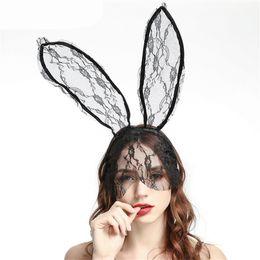 Fascia di velo nera online-Bunny merletto delle donne Black Mask fascia di accessori Veil travestimento della mascherina del partito di Halloween maschera di Natale Appello uniforme Accessori JK1909