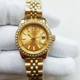 Fecha del reloj del rhinestone online-28 mm de lujo pulsera de oro reloj de pulsera de primeras marcas de moda vestido de las señoras reloj de diamantes Diseñador Rhinestone Relojes de las mujeres Día Fecha Reloj de cuarzo