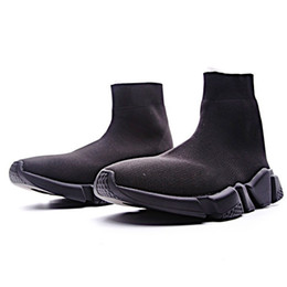 2019 botines para mujer elásticos. 2019 Zapatos de diseñador de calcetines casuales British tobillo corto elástico Slip On Stretch Sock Brand Shoes Mujer Zapatillas Muffin 2019 Suela pesada botines para mujer elásticos. baratos