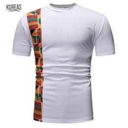 2019 vestito reale nobile Maglietta africana degli uomini di Kureas Maglietta di Dashiki Maglietta estiva di O-Collo del manicotto del bicchierino del manicotto Maglietta tradizionale casuale di modo