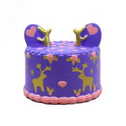 Giocattolo verde dei cervi online-10 pz lotto squishy giocattolo pu SOFT jumbo viola cervo verde torta 10 cm * 9 cm kawaii giocattolo Squishy, Cinghie del telefono cellulare all'ingrosso SPEDIZIONE GRATUITA