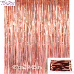 Decorazioni porta oro online-FENGRISE 92 * 245 cm Oro rosa Decorazione del partito lamina scintillante Frangia Tinsel Door Tenda Matrimonio Compleanno Foto Sfondo Forniture