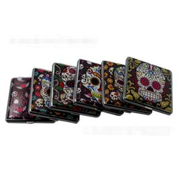 2019 contenitori in pelle Teschio stampato in pelle 20 sigarette titolare scatola di metallo di stoccaggio di tabacco caso contenitore titolare di fumare regalo stili multipli contenitori in pelle economici