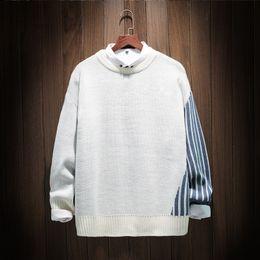 d4b60f64c1fe 2019 pullover japan 2018 Herbst Lässige Oansatz Gestreiften Slim Fit  Knittwear Pullover Pullover Männer Pullover Marke