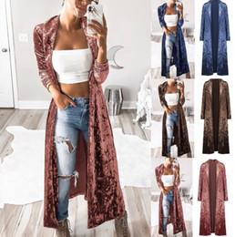 2019 фиолетовое весеннее пальто Женщины Velvet Long Coat Solid Straight Кардиган Открытый пальто вскользь тонкая куртка Верхняя одежда Верхняя одежда O-OA6489